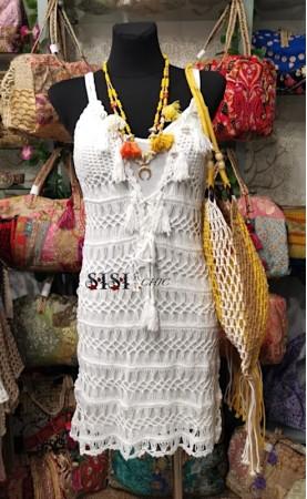 Vestido crochet borlas...