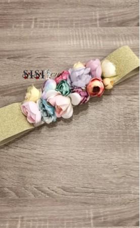 Cinturones Flores Dorado...